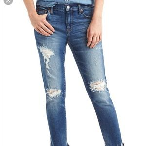 Gap best girlfriend distressed jeans released hem